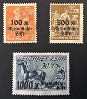 1923 Rhein-und Ruhrhilfe Mi.258-260*) 259 Abart Gebrochen R-Schleife Unten - Deutschland