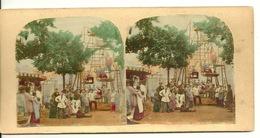 PHOTO STEREOTYPE COLORISEE SUR SUPPORT CARTON / UNE FETE FORAINE - Anciennes (Av. 1900)