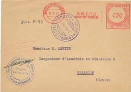 """Allemagne Griffe """" GMZFO """" Gouvernement Militaire Zone Française D'occupation """" Sur Lettre De Baden-Baden 1951 NEUSTADT - Marcofilia (sobres)"""