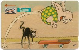 Malaysia (Uniphonekad) - Skateboard, Cartoons Utusan Taxi, 24MSAD, 1992, 100.000ex, Used - Malaysia