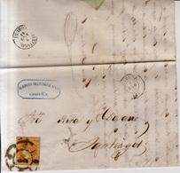 Año 1860 Edifil 52 4c Isabel II Carta   Matasellos Rueda De Carreta 4 Coruña Membrete Garcia Martinez De Coruña - 1850-68 Königreich: Isabella II.