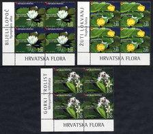 CROATIA 2006 Wetland Flowers Blocks Of 4 MNH / **,  Michel 779-81 - Croatie