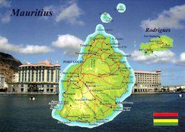 1 Map Of Mauritius * 1 Ansichtskarte Mit Der Landkarte Der Insel Mauritius Und Der Insel Rodrigues * - Landkarten