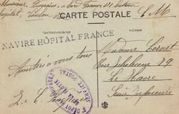Griffe Navire Hôpital France Sur Carte De Toulon - Marcophilie (Lettres)