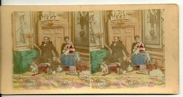 PHOTO STEREOTYPE COLORISEE SUR SUPPORT CARTON / BOURGEOISIE - JOUETS D'ENFANTS - Anciennes (Av. 1900)