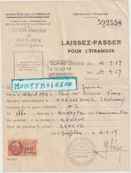 Vieux  Papier : Laisser Passer Guerre Haut Rhin  Saint  Louis- Cresserons , Schweiz , Timbre  Fiscal ;1959; Geneve - Vieux Papiers