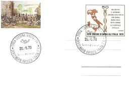 ITALIA - 1970 COLOGNA VENETA (VR) Unione Di Roma All'Italia - Centenario Della Breccia Di Porta Pia Bersaglieri - Storia