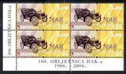 CROATIA 2006 Centenary Of Automobile Club Block Of 4 MNH / **,  Michel 778 - Croatie