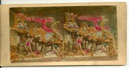 PHOTO STEREOTYPE COLORISEE SUR SUPPORT CARTON / AMUSEMENTS DU DIABLE - Anciennes (Av. 1900)