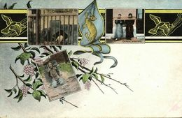 China, Chinese Prisoners, Punishment Multiview Postcard (1910s) Dragon Flag - China