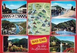 1 Map Of Germany * 1 Ansichtskarte Mit Der Landkarte - Bad Ems - Die Perle Des Lahntales * - Landkarten
