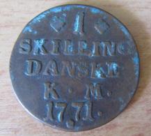 Danemark - Monnaie Ancienne : 1 Skilling 1771 - Denmark