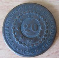 Brésil : Monnaie Ancienne 20 Reis 1824 (contremarque Sur 40 Reis) - Brésil