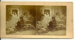 PHOTO STEREOTYPE SUR SUPPORT CARTON / SCENE DE THEATRE - Anciennes (Av. 1900)