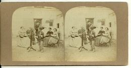 PHOTO STEREOTYPE SUR SUPPORT CARTON / LA LECON DE MUSIQUE - Anciennes (Av. 1900)