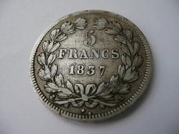 5 Francs 1837 A  Louis Philippe I  Argent 37 Mm - France