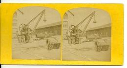 PHOTO STEREOTYPE SUR SUPPORT CARTON / CHANTIER USINE - BOULE A DEMOLIR - Anciennes (Av. 1900)