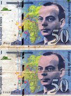 Lot De 2 Billets Français De 50 Francs De Saint-Exupéry De 1999 - - 1992-2000 Laatste Reeks