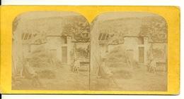 PHOTO STEREOTYPE SUR SUPPORT CARTON / A LA FERME - Anciennes (Av. 1900)