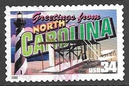2002 34 Cents State Greetings, North Carolina, Used - United States