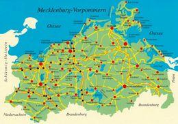 1 Map Of Germany * 1 Ansichtskarte Mit Der Landkarte - Das Bundesland Mecklenburg-Vorpommern * - Landkarten