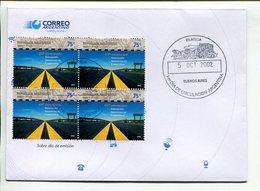 50 ANIVERSARIO ASOCIOACION CARRETERAS, LES ROUTES ROADS. ARGENTINA AÑO 2002 SOBRE PRIMER DIA ENVELOPE FDC TBE -LILHU - Transporte