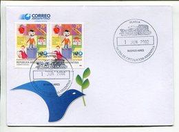 ORGANIZACIÓN PANAMERICANA DE LA SALUD, SANTÉ HEALTH . ARGENTINA AÑO 2002 SOBRE PRIMER DIA ENVELOPE FDC TBE -LILHU - Salud