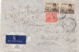 EGYPTE 1947 - 3 Fach Frankierung Auf LP-Brief Gel.n.Luxembourg - Luftpost