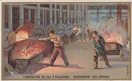 CHROMO ) CHOCOLAT GUERIN BOUTRON Les Differentes Industries (fabrication Du   Gaz D Eclairage Chargement   )  (6.5x10.5) - Guerin Boutron