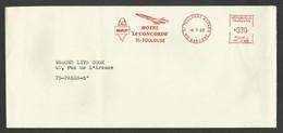 """"""" MAP Hotel LE CONCORDE """" / Machine SR 1780 / TOULOUSE / 1968 - Marcophilie (Lettres)"""