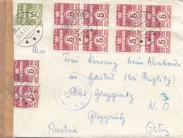DÄNEMARK ZENSUR 1953 - 11 Fach Frankatur Auf Brief Gel.v. Dänemark > Glocknitz NÖ - Dinamarca