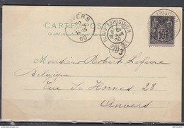 Carte Postale Van Paris Exposition Naar Anvers (Belgie) - 1898-1900 Sage (Type III)