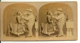 PHOTO STEREOTYPE SUR SUPPORT CARTON / SCENE DE THEATRE - TETE DE COCHON ET TETE DE CHAT - Anciennes (Av. 1900)