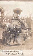 RPPC REAL PHOTO POSTCARD SIDNEY BC SAILORS ON TRAIN 1908 - British Columbia