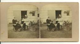 PHOTO STEREOTYPE SUR SUPPORT CARTON / LECON DE MUSIQUE - GUITARE ET FLUTE - Anciennes (Av. 1900)