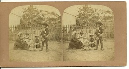 PHOTO STEREOTYPE SUR SUPPORT CARTON / JEUX D'ENFANTS - Anciennes (Av. 1900)