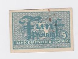 Billet 5 Pfennig  Pick 11 - [ 7] 1949-… : RFD - Rep. Fed. Duitsland