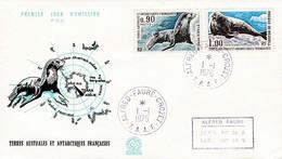 TAAF PREMIER JOUR 1976 57 + 58 Otarie Phoque 01-01-1976 CROZET - FDC