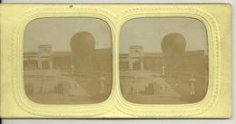 PHOTO STEREOTYPE SUR SUPPORT CARTON / DEPART D'UN BALLON MONGOLFIERE - Anciennes (Av. 1900)