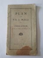 1919 Plan De La Ville De Mulhouse Avec Indicateur Des Rues, Édifices (Synagogue), Des Fabriques, Ecoles, Casernes, Asile - Planches & Plans Techniques