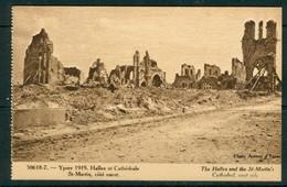 19/6 Belgique Belgie WW1 Guerre 14/18 Ypres Ieper 2 Scans Non Voyagé Halles Et Cathedrale Saint Martin - Ieper