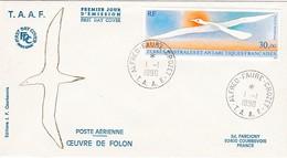 TAAF PREMIER JOUR 1990 PA114 Oiseau De Folon 01-01-1990 CROZET - FDC