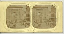 PHOTO STEREOTYPE SUR SUPPORT CARTON / PARIS - PORTE SAINT DENIS - Anciennes (Av. 1900)