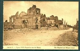 19/6 Belgique Belgie WW1 Guerre 14/18 Ypres Ieper 2 Scans Non Voyagé Ruines Hopital Et Rue De Menin Menen - Ieper