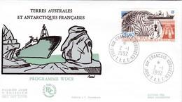 TAAF PREMIER JOUR 1992 N° 170 Programme WOCE 02-01-1992 Kerguelen - FDC
