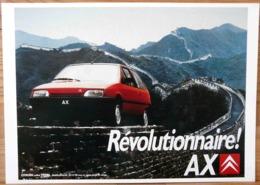 AFFICHE CITROEN REVOLUTIONNAIRE AX SUR LA MURAILLE DE CHINE - Automobiles