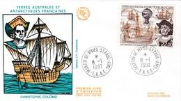TAAF PREMIER JOUR 1992 N° PA122 Christophe Colomb 08-01-1992 St Paul Et Amsterdam - FDC