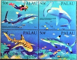 # Palau 1993**Mi.614-17 Sharks , MNH [21;62] - Marine Life