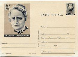 ROUMANIE ENTIER POSTAL NEUF AVEC ILLUSTRATION 1867 / 1934 M. CURIE - SKLODOWSKA - Premio Nobel