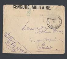 Guerre 14-18 Poste Militaire Belge TAD Bilingue Du 22/8/1917 Vers Paris Bande Censure Militaire 133 133 - Poststempel (Briefe)